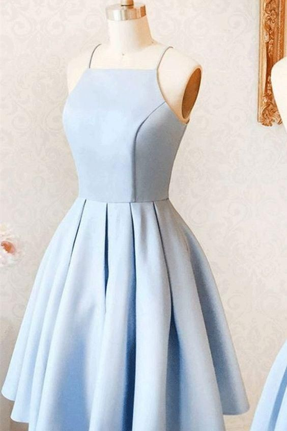 A-line Prom Dresses, Light Blue Evening Dresses, Short Evening Dresses With Pleated Sleeveless Straps M3063