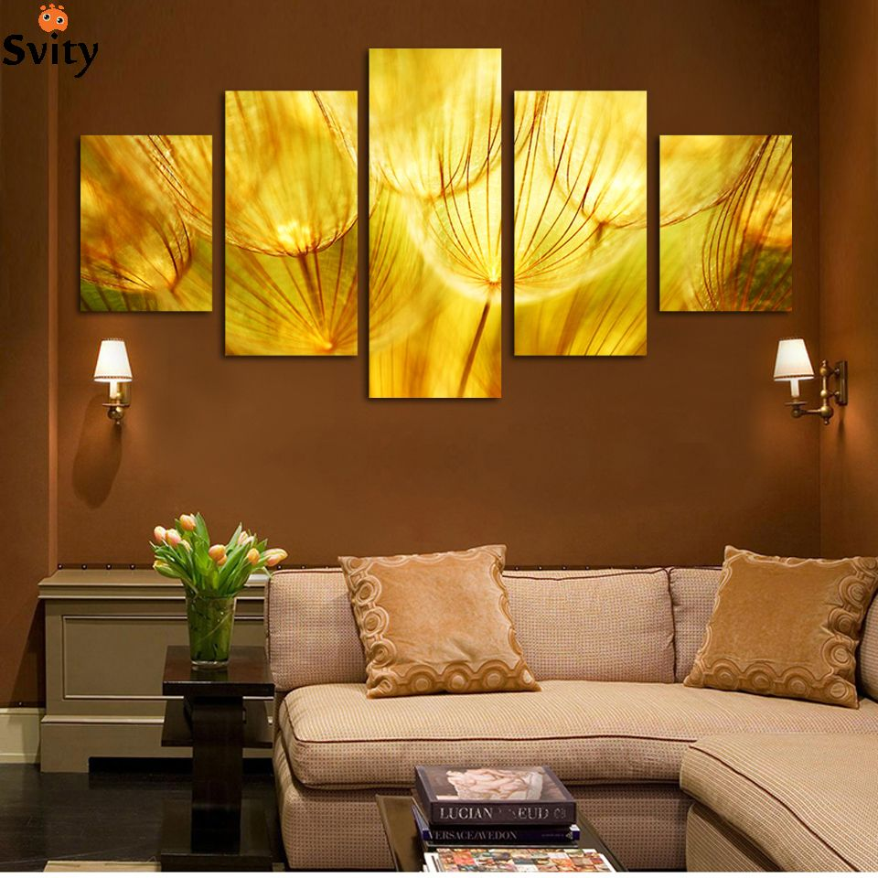 Free Shipping] Buy Best 5 Panel Wall Art Gold flower Oil Painting On ...