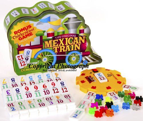 Double 12 Set Dominoes Mexican Train with Color-Coded NUMBERED Dominoes