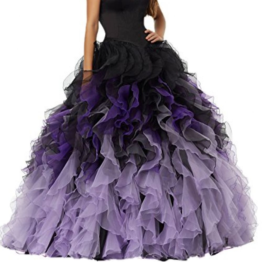 Meilis sweethart ball gown puffy ombre organza prom dresses