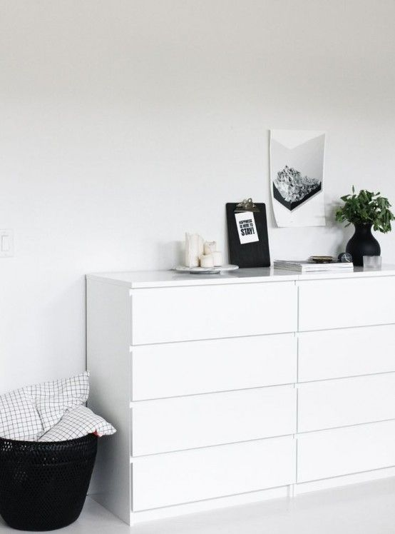 Trying To Incorporate That Boring Ikea Malm Dresser Into My New Cool Scandinavian Style Room Interior