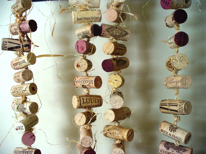 Rustic cork garland wedding decoration repurposed winery ...