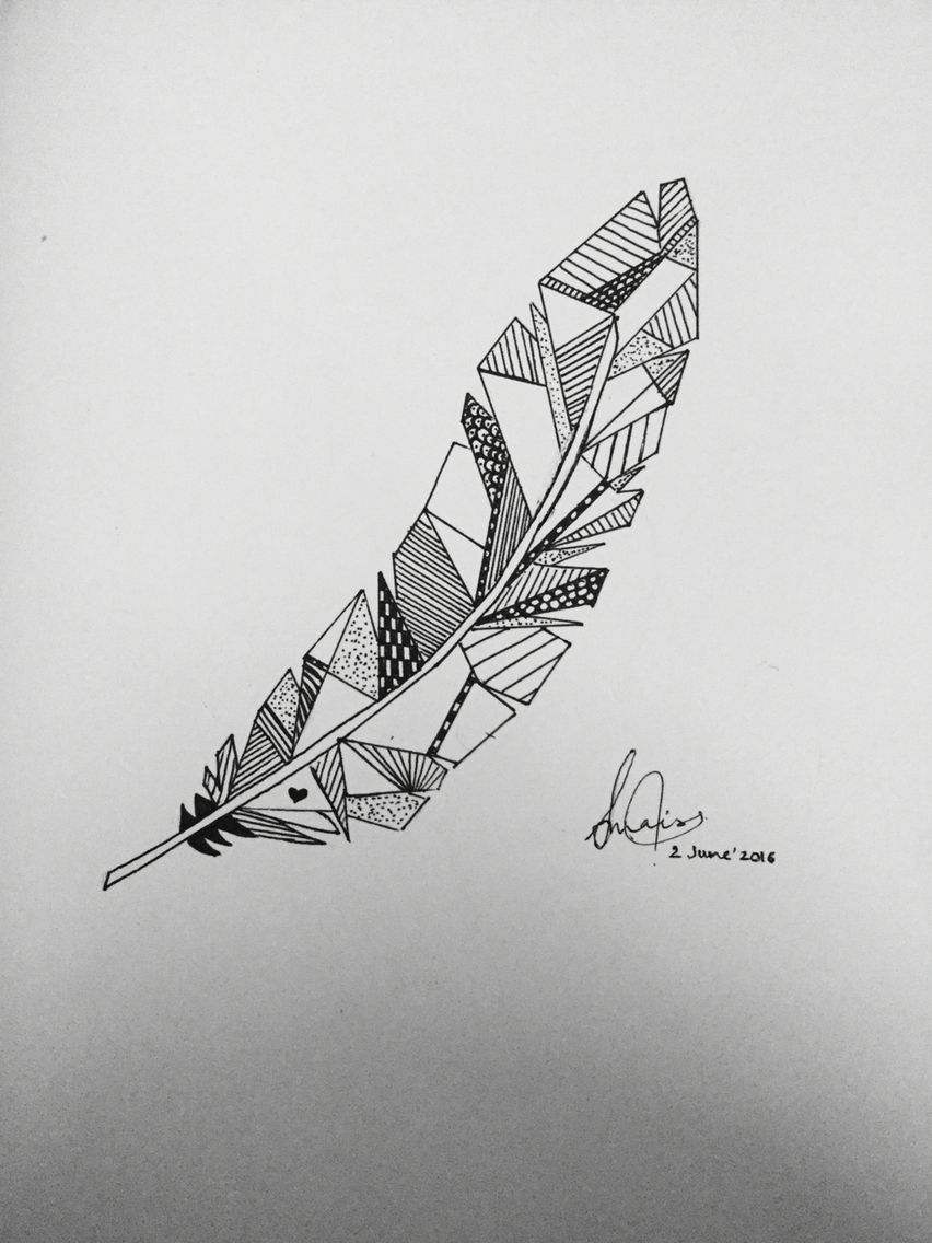 Geometrical Feather Drawing Geometric Tattoos Art Drawings
