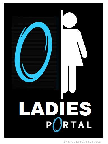 Bathroom Signs Video portal bathroom sign for womeniwantgamecheats | video game
