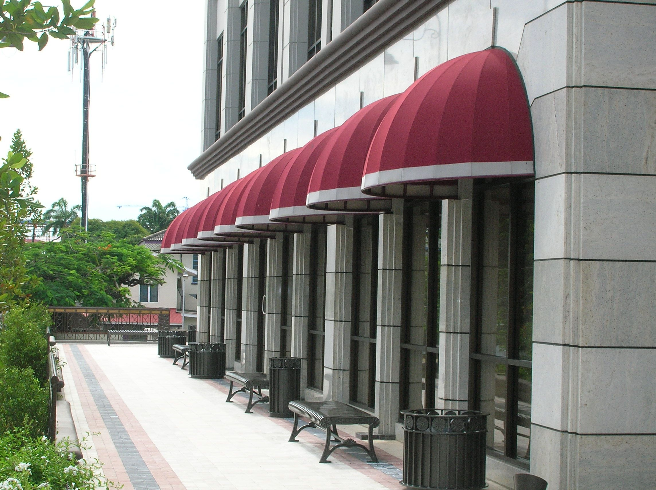 Awnings u0026 Canopies - Types and Designs & Sunbrella Awning Fabric | Dome Awning - Briar Place Trinidad ...