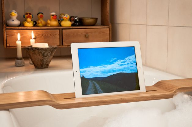 Wood U Relax Ipad Stand For Your Bathtub Tablet Stand Wood Bath Rack Tablet