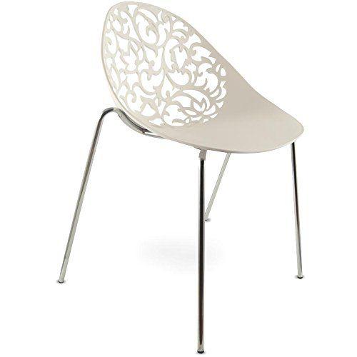 Mojo Design Stuhl Gartenstuhl Stahl Gestell In Weiss S05 Amazon De Kuche Haushalt Stuhle Plastikstuhle Kuchenstuhle