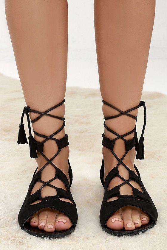f51a9857bb1 U.R.A.Q.T. Black Suede Lace-Up Flat Sandals at Lulus.com!