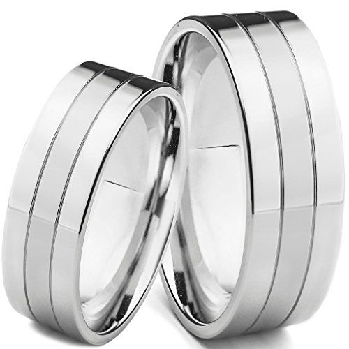 His Hers 2 Piece 6mm Solid Stainless Steel Matching Wedding Band Ring Set Available Sizes Mens