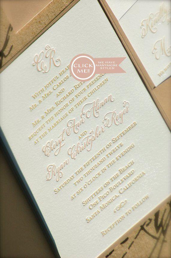 Blush And Gold Wedding Invitation Letterpress