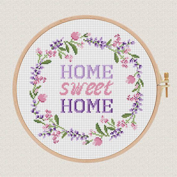 Photo of Home sweet home cross stitch pdf pattern Lavender Helleborus flowers wreath cross stitch modern Round cross stitch Easy Counted Chart diy