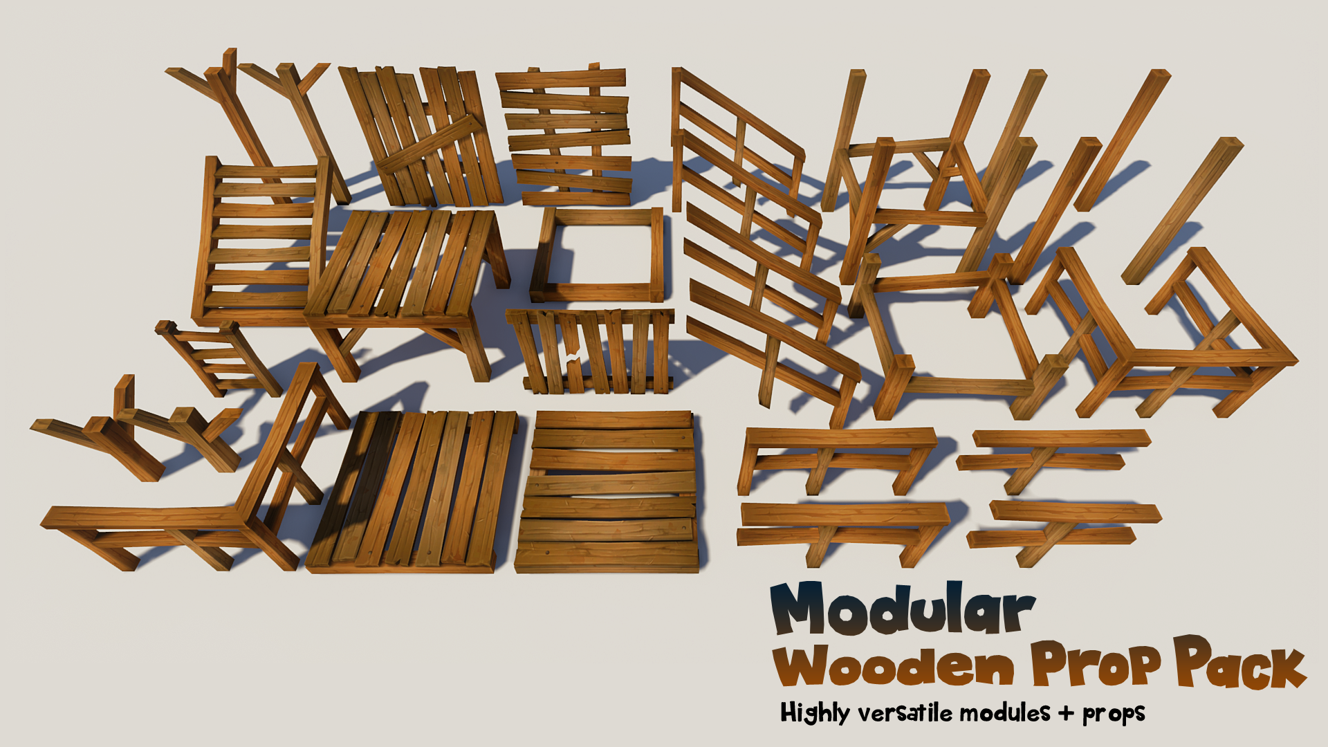 Modular Wooden Prop Pack by Ginkgostory in props - UE4 Marketplace