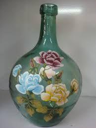 Resultado de imagen de manualidades pintar garrafas de cristal