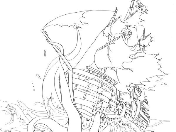 Octopus Shipwreck Drawing Sunken ship | t...