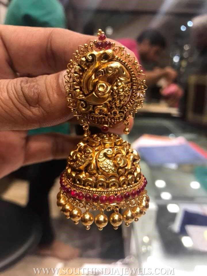 Bold gold antique jhumka from psj south india jewels