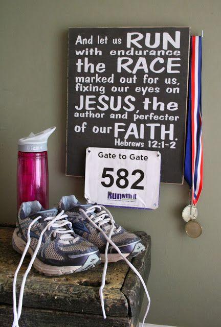"""Run with Endurance"" race bib display."
