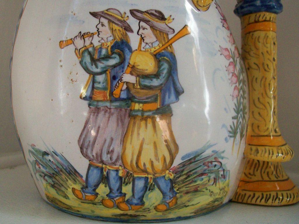 Henriot Quimper C1910 Signed Bagpipe Vase Antique French Faience Faience De Quimper Faience Et Quimper