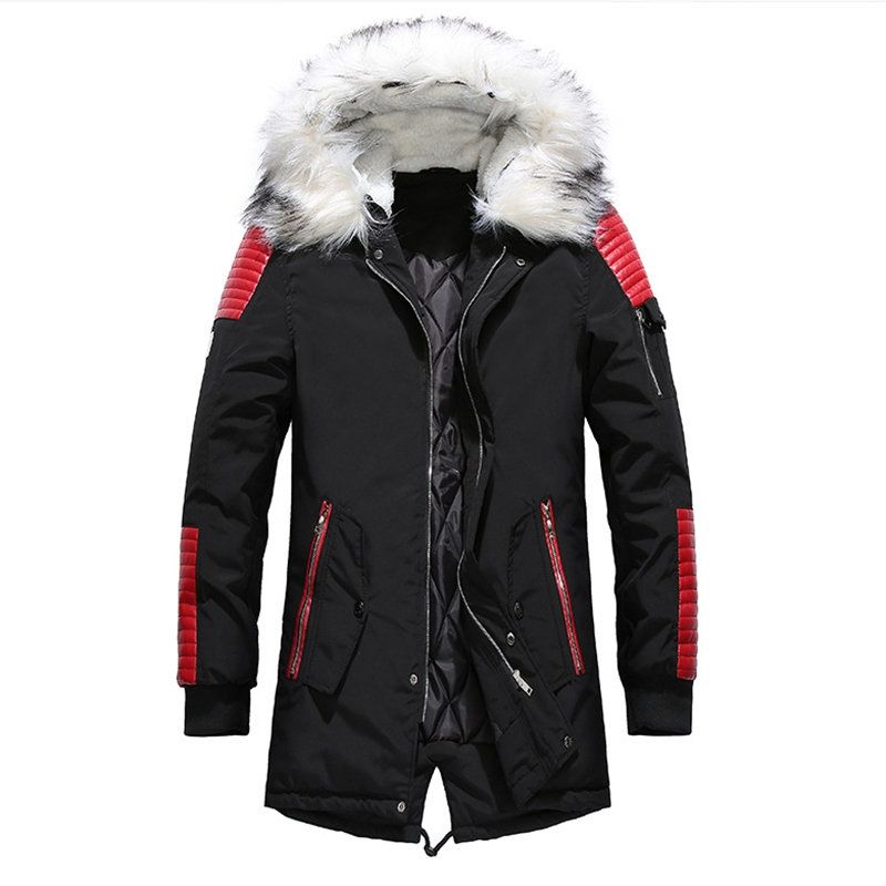 EUROUS Mens Winter Fur Collar Mid-Long Hooded Down Jacket Thicken Wadded Coat