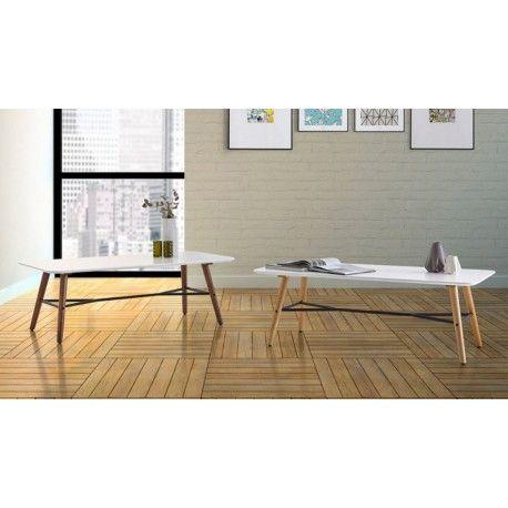 Mesa de centro MATTIAS con el tablero blanco lacado de Fibra de ...