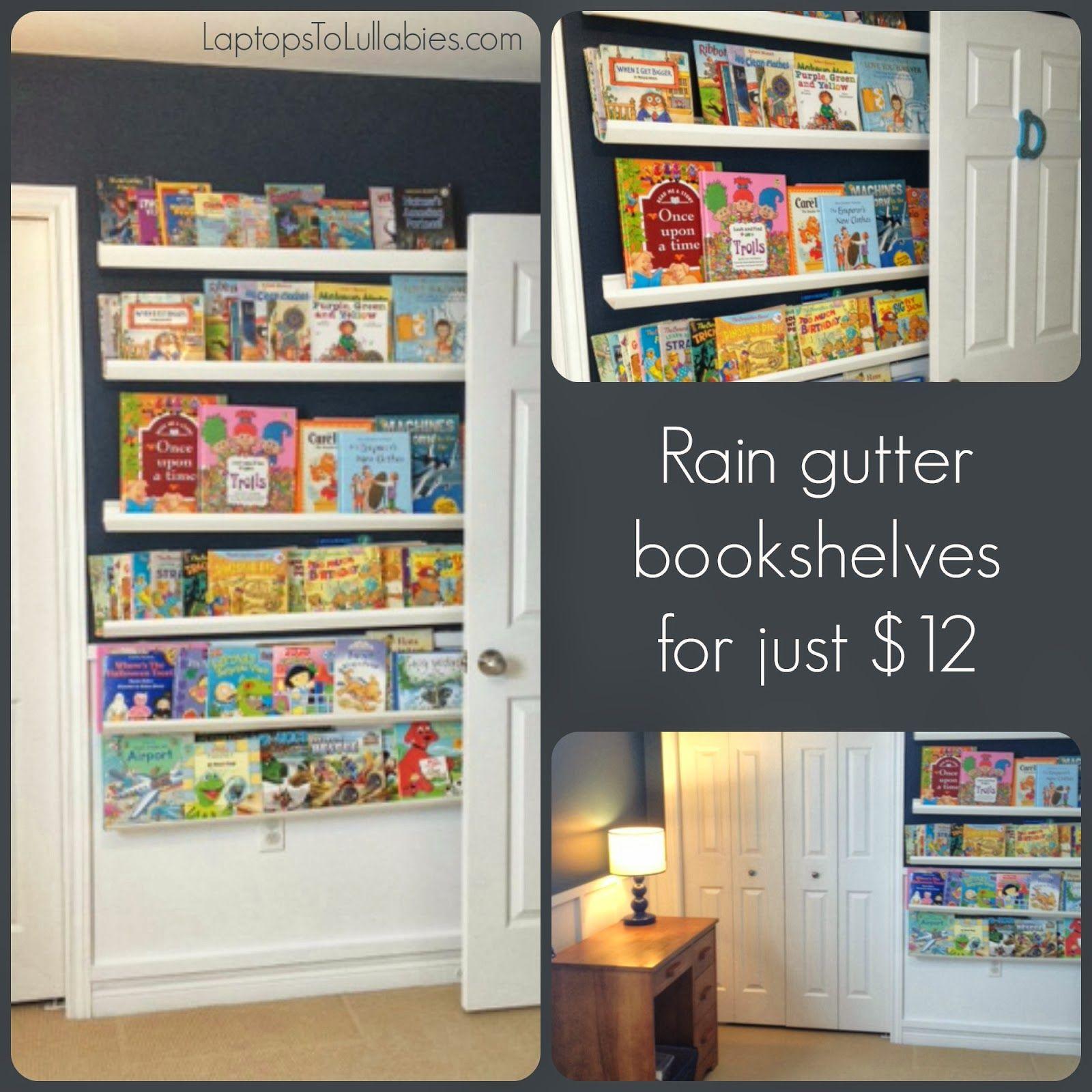 White Plastic Rain Gutter Bookshelves For Our Son's