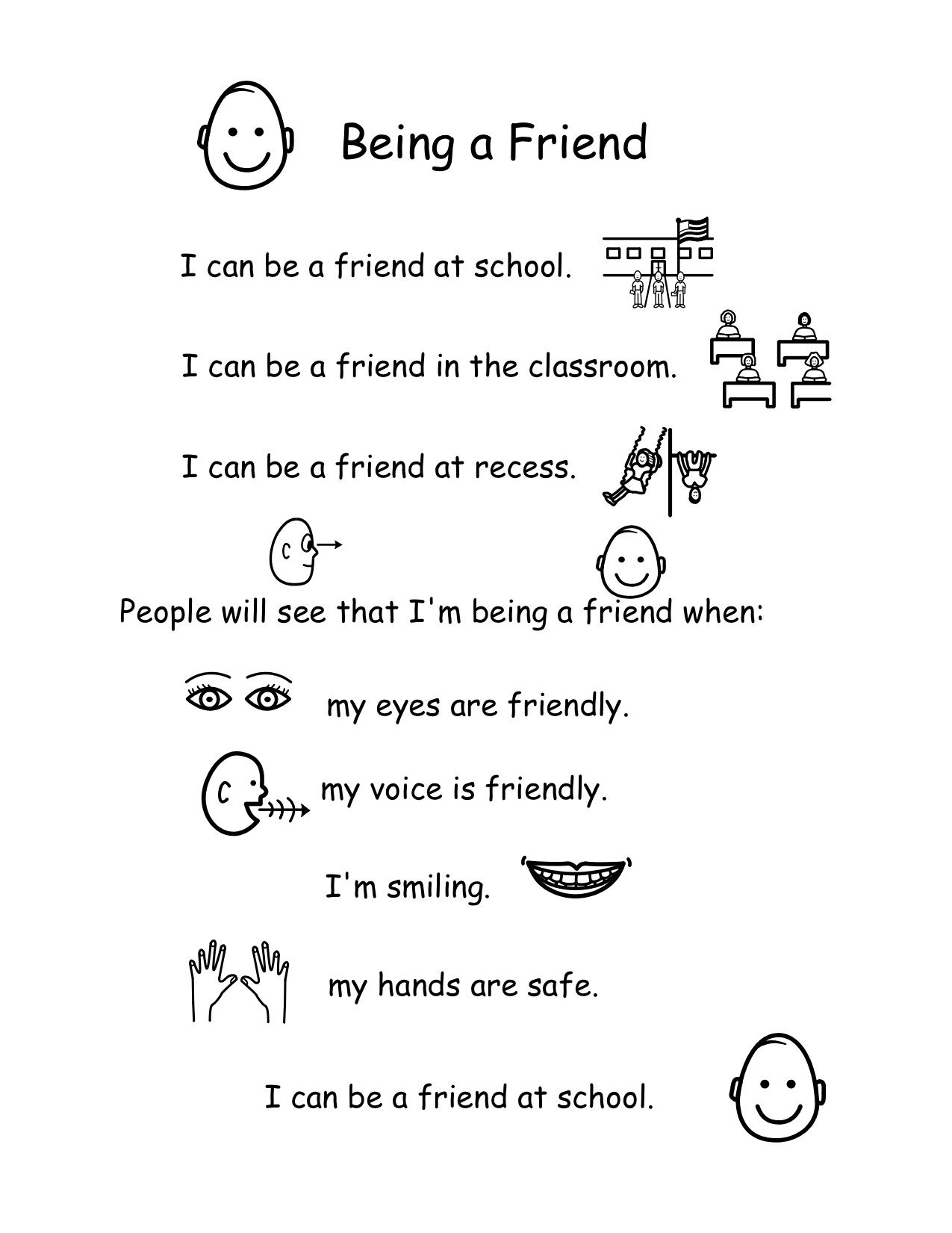 Behavior Support Story For How To Be A Friend Created On