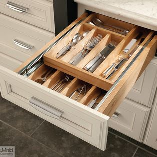 Kraftmaid cabinetry wood tiered drawer storage double for Kraftmaid closet systems