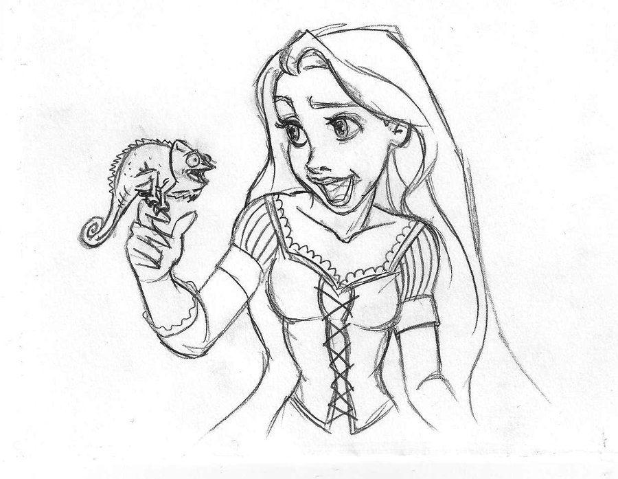 Rapunzel Pascal Sketch By Danielfoez Deviantart Com On Deviantart