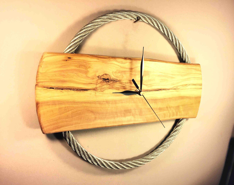 Wood Wall Clock Large, Rustic Wood Wall Clock, Unusual Wood Wall ...