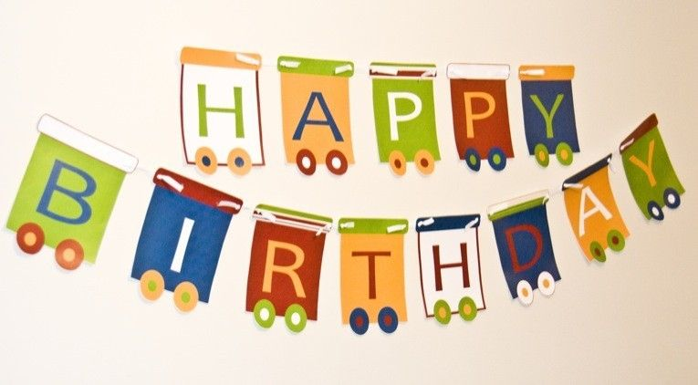 Printable Birthday Banner ~ Train printable party happy birthday banner instant download by