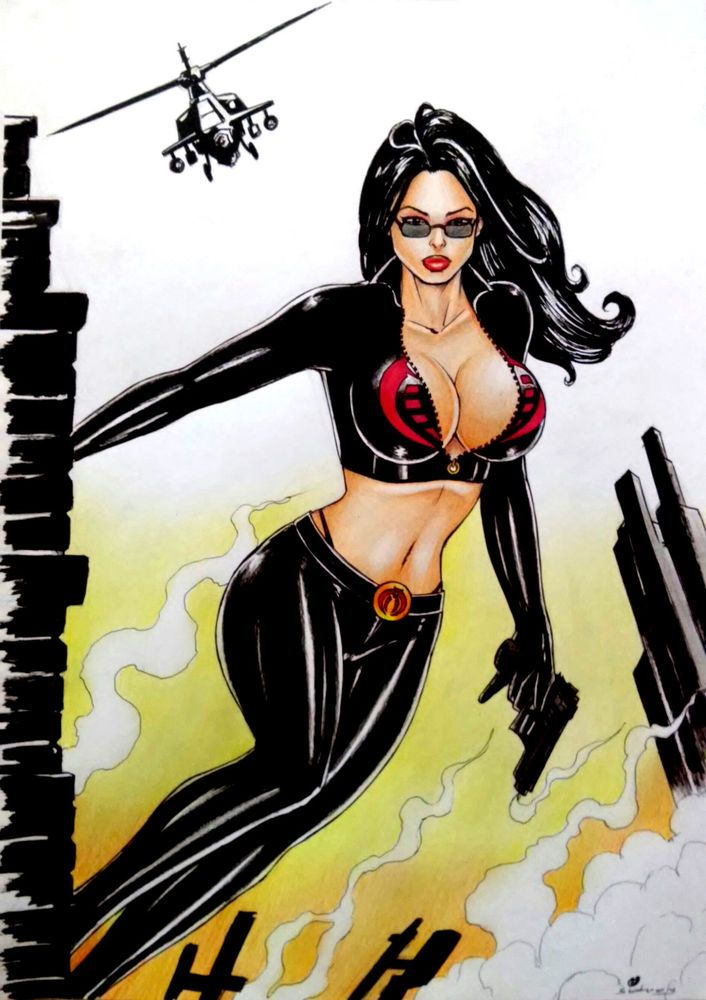 BARONESS BY artist SIDNEY CINTRA-ART PINUP Drawing Original COMIC #PopArt
