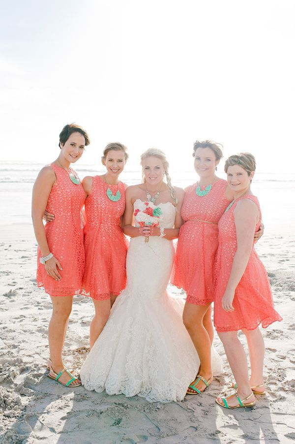 Coral bridesmaid dress what color shoes