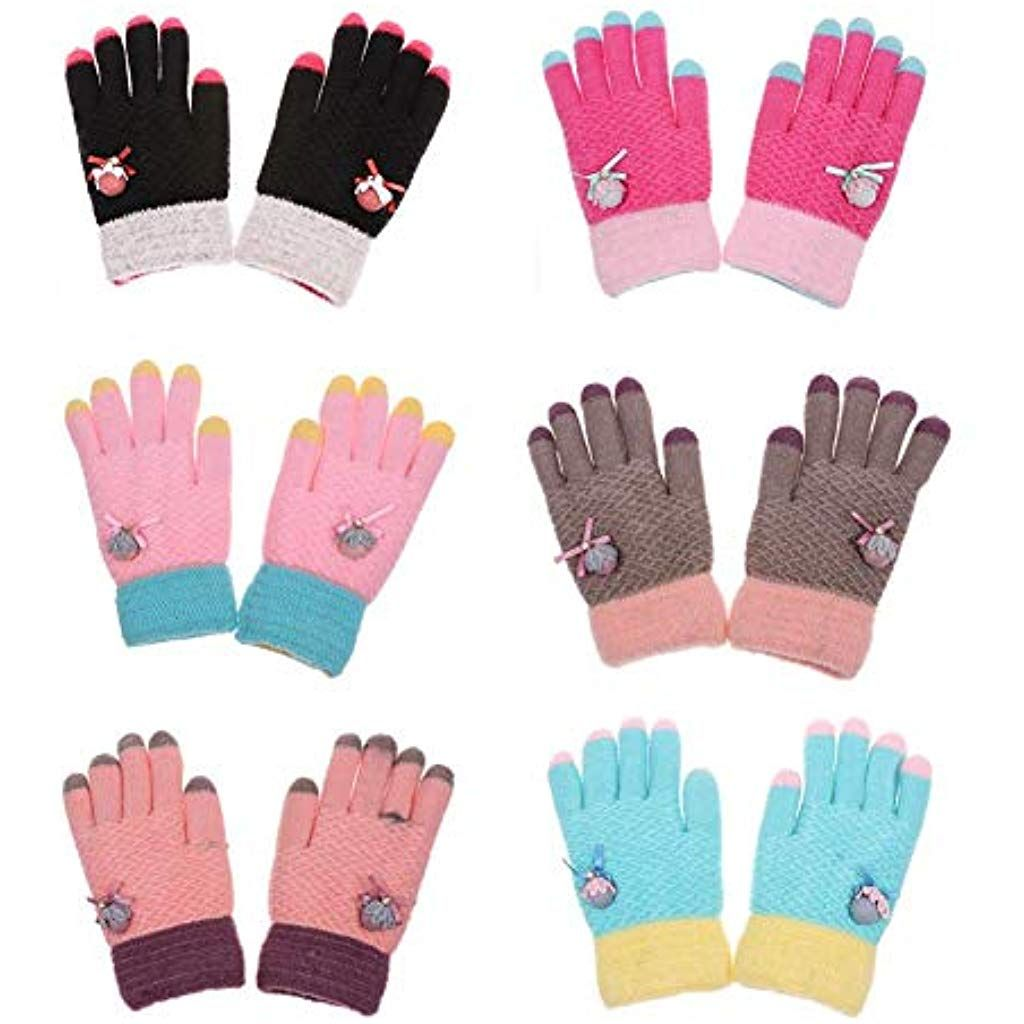 Children/'s Half-finger Gloves Kids Warm Mittens Practical Hand Protect Xmas Gift