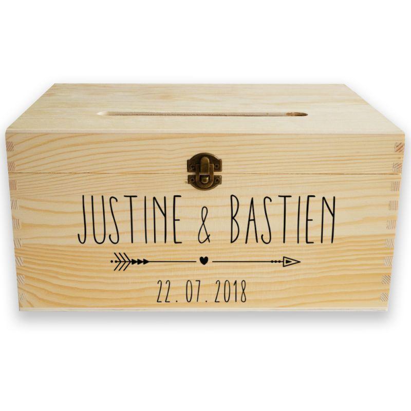 Urne en bois personnalisable , prénoms et date , mariage , wooden box  wedding Box,