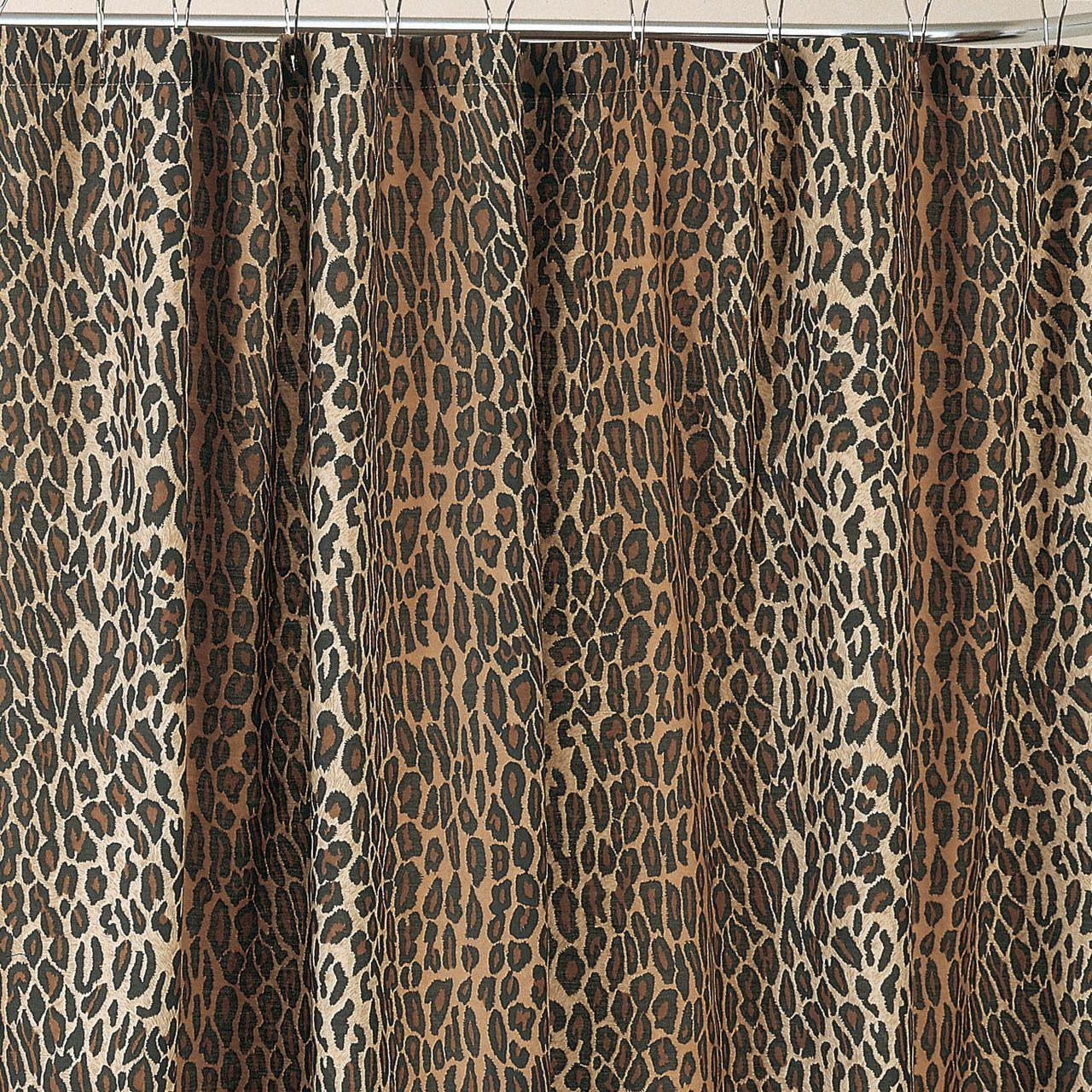 Cheetah shower curtain - Leopard Shower Curtain Set