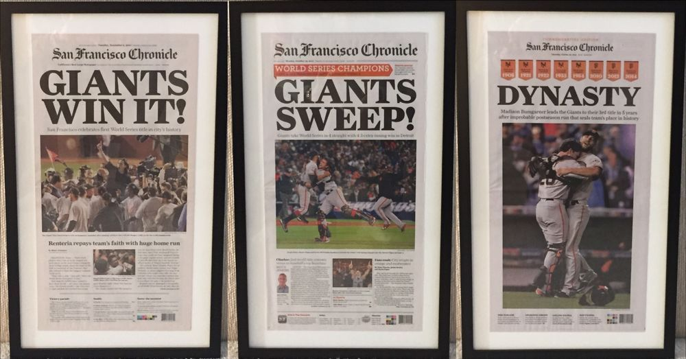 Framed 2010 2012 2014 San Francisco Giants World Series