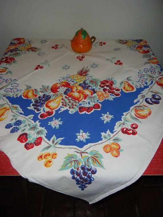 Vintage Fruit Theme Tablecloth 1940s by momspopshoppe on Etsy, $9.99
