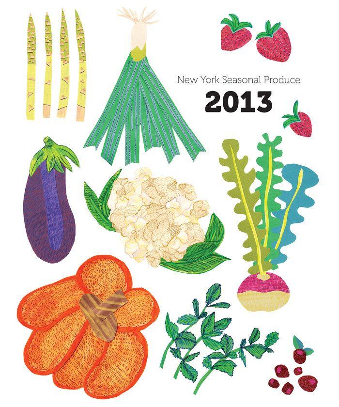 2013 New York State Seasonal Produce Calendar 16 00 3 00 Shipping Via Etsy In Season Produce Veggie Art Seasons
