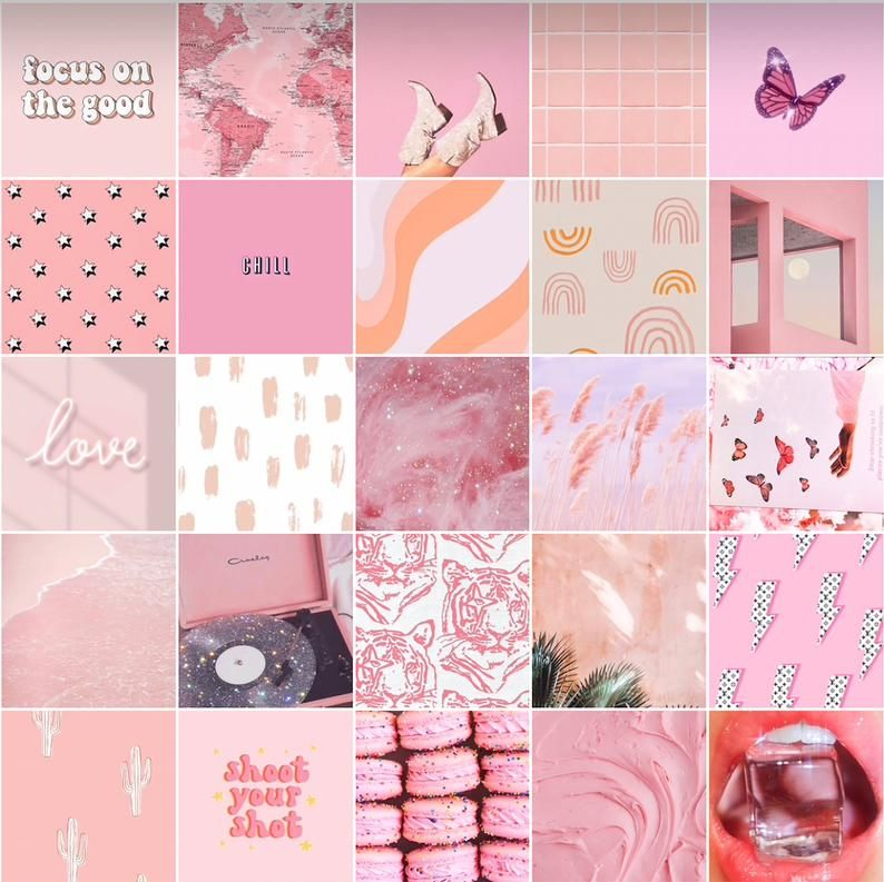 Boujee Pink Wall Collage Kit Aesthetic Decor Cute Vibe Digital Print A5 size 80 pcs.