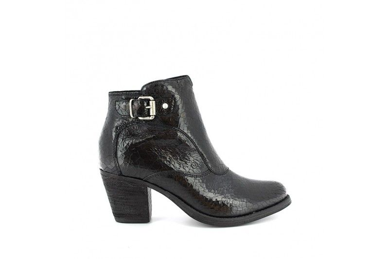 Team 4717 Sport Nero Ankle boots in real metallic leather with side zip and buckle. Rubber sole, heel 6,5 cm high. #Khriò