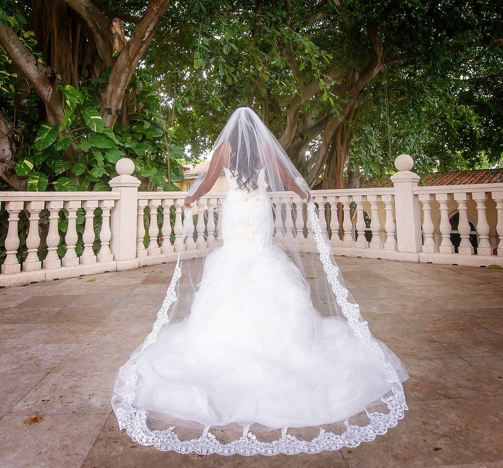 Gorgeous lace veil partially laced to waist