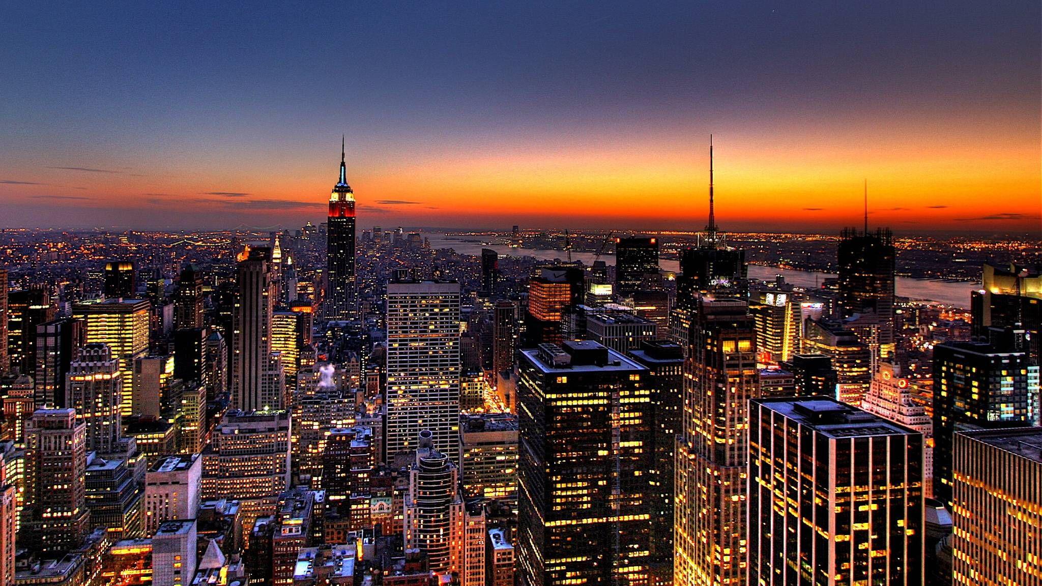 Wallpaper City, Night, Lights, City lights, Buildings, Sky HD ...