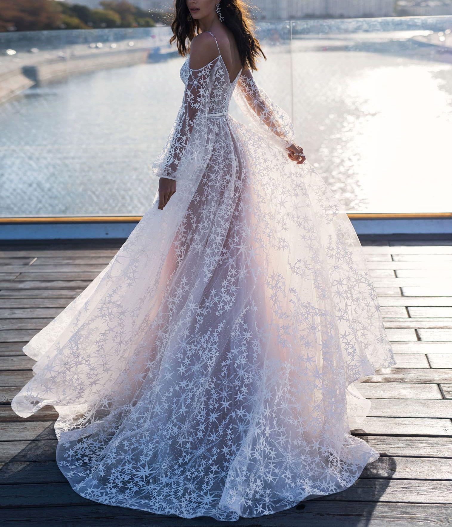 Elegant Star Appliques Chic Wedding Dress Boho Bridal Dress Cheap Wedding Dress Wedding Dress Long Sleeve [ 1766 x 1515 Pixel ]