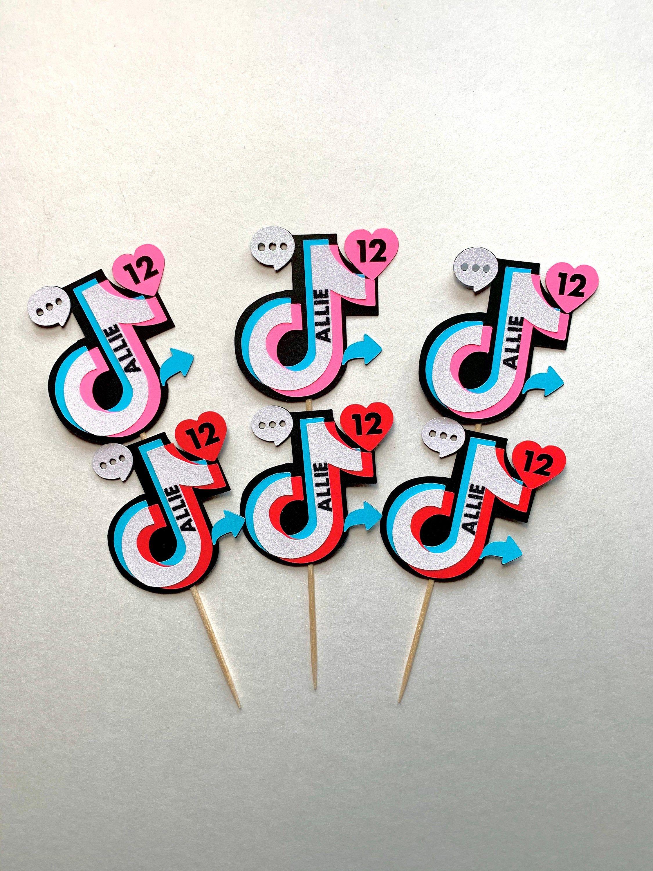 Tik Tok Tiktok Personalized Icons Cupcake Toppers Tik Tok Etsy Happy Birthday Cake Topper Diy Holiday Party Party Topper