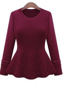 Red Round Neck Ruffle Knit Sweater
