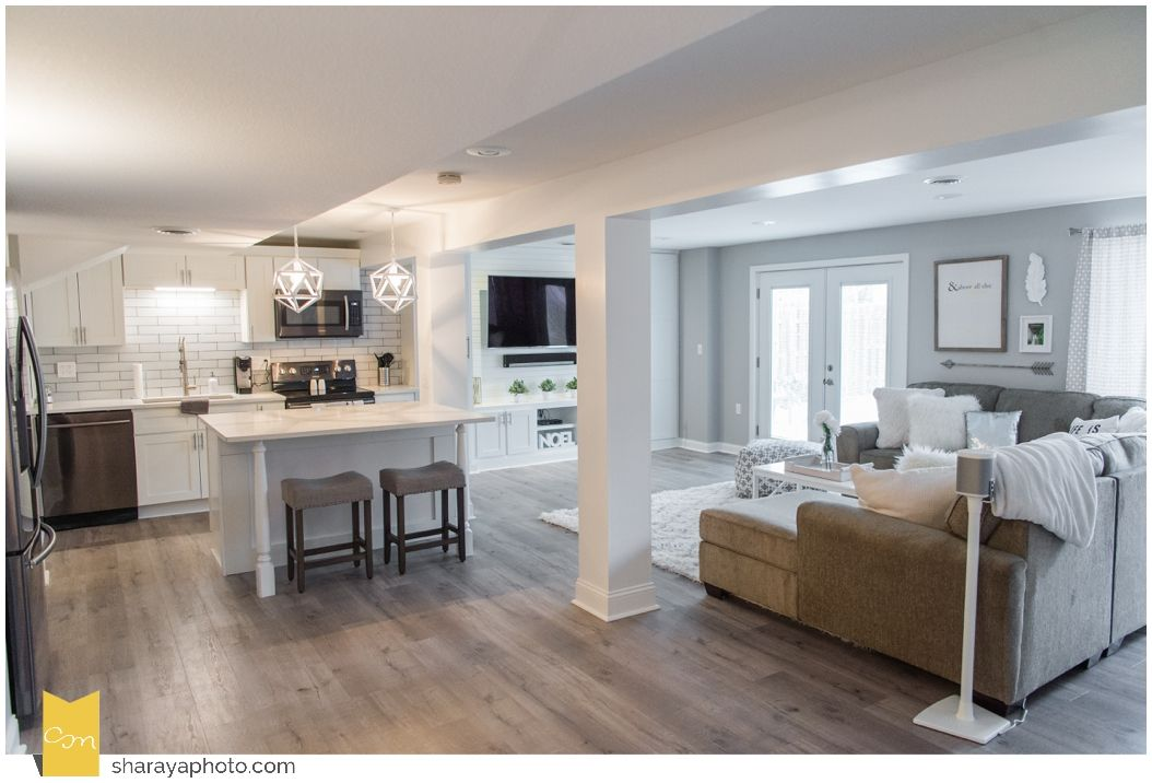 Basement Remodel Basement Finish White And Gray Basement Basement Apartment Decor Small Basement Apartments Home