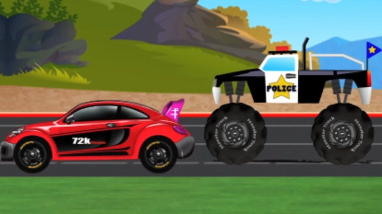police monster truck vs sports car   cars and trucks   video for ...