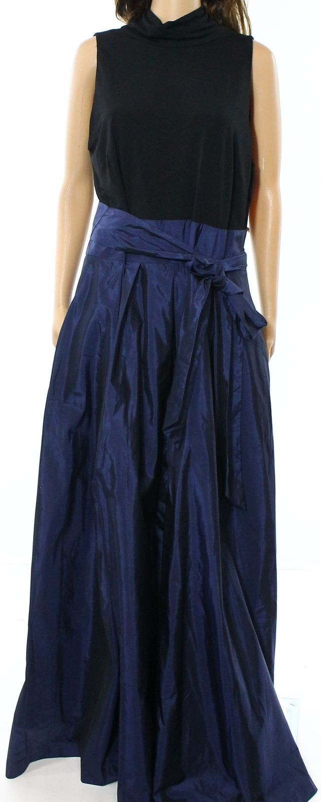 Awesome awesome lauren ralph lauren new blue black tafetta belted