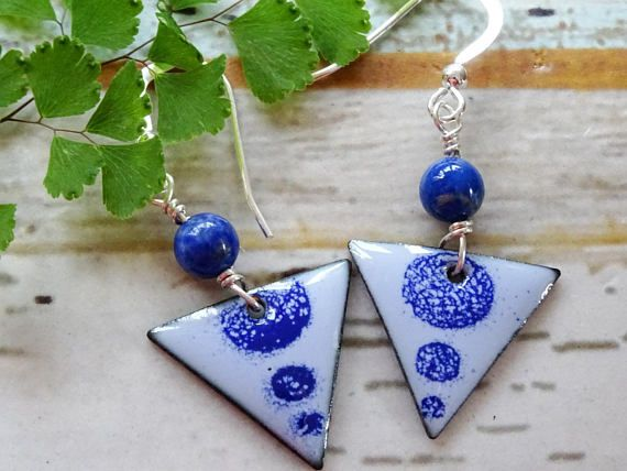 Enamelled blue drop earrings lapis lazuli aztec jewelry rustic enamelled blue drop earrings lapis lazuli aztec jewelry rustic jewellery present for negle Image collections