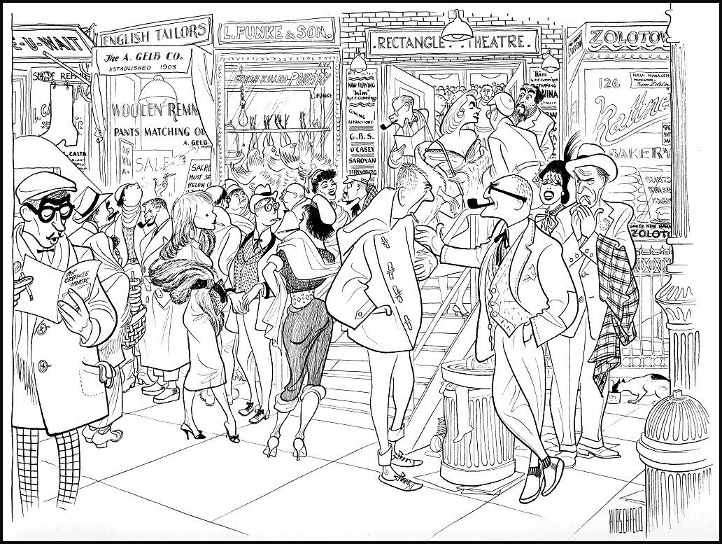 Off Broadway Theatre Audience Intermission by Al Hirschfeld, 1956 ...