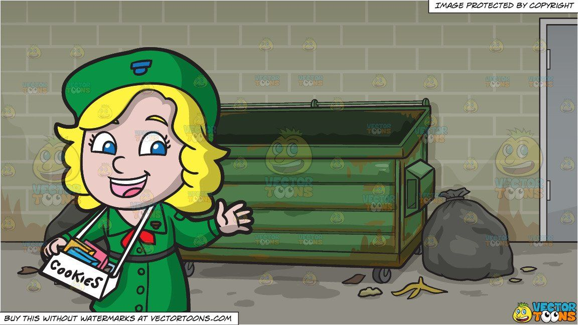 clipart #cartoon A Happy Girl Scout Selling Cookies and An